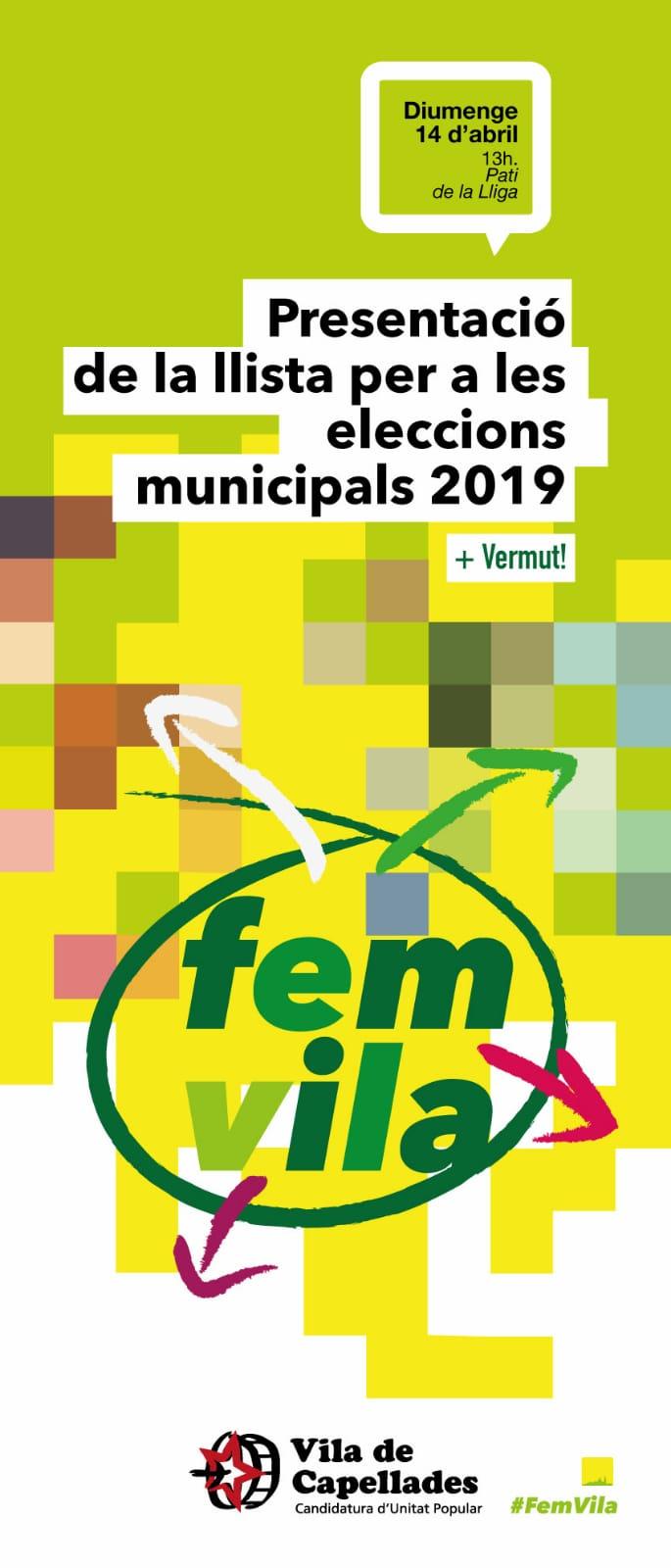 Presentació de la llista per a les eleccions municipals 2019