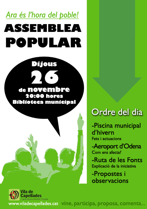 Ara és l'hora del poble! Assemblea Popular dijous 26 de novembre